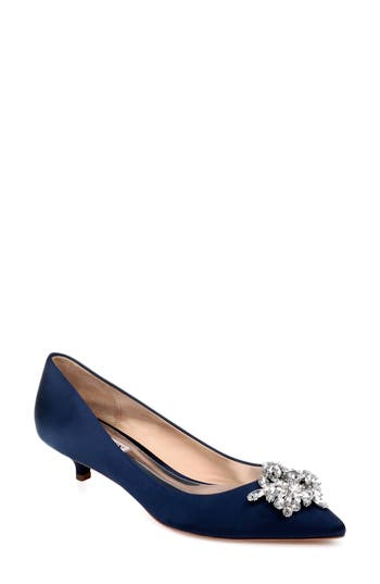 Badgley Mischka Vail Embellished Kitten Heel Pump