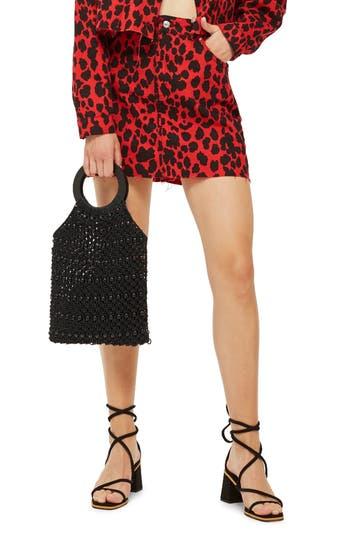 Topshop Leopard Print Denim Skirt