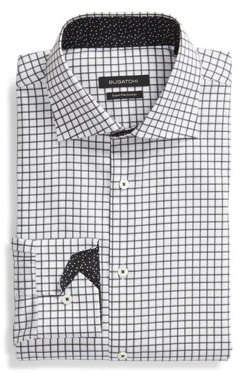 Men's Bugatchi Trim Fit Check Dress Shirt, Size 15 - White