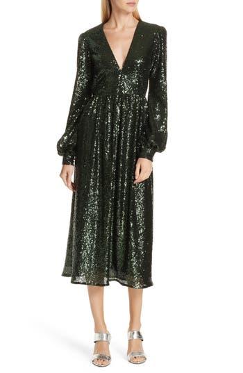 SALONI Camille Sequin Midi Dress