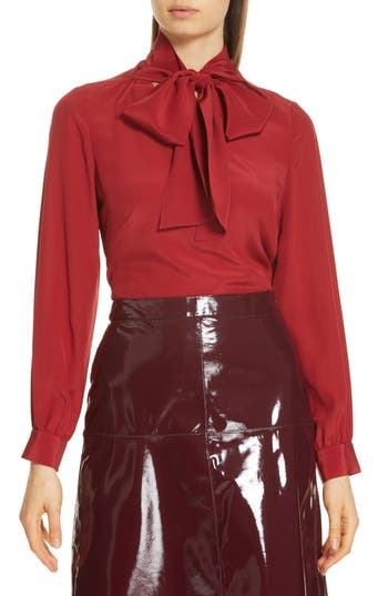 Women's Lewit Tie Neck Silk Blouse, Size X-Small - Red