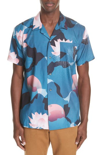 Men's Double Rainbouu Kyoto Song Camp Shirt, Size Small - Pink