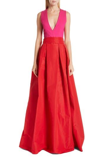 Sachin & Babi Savoia Colorblock A-Line Gown