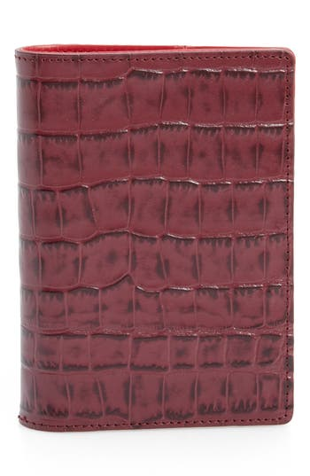 Nordstrom Croc Embossed Leather Passport Holder