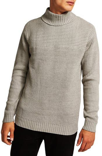 Men's Topman Flint Ribbed Turtleneck Sweater, Size Large - Grey