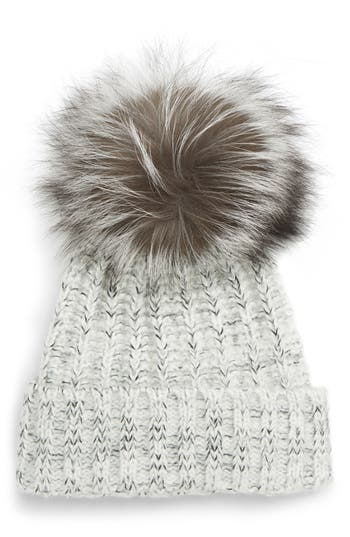 Kyi Kyi Cable Knit Beanie with Genuine Fox Fur Pom