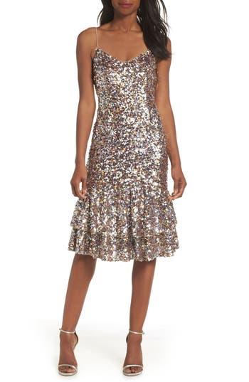 Adrianna Papell Ruffle Hem Sequin Midi Dress