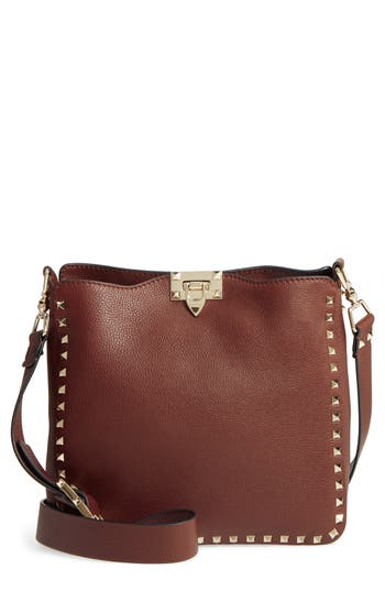 VALENTINO GARAVANI Small Rockstud Leather Hobo