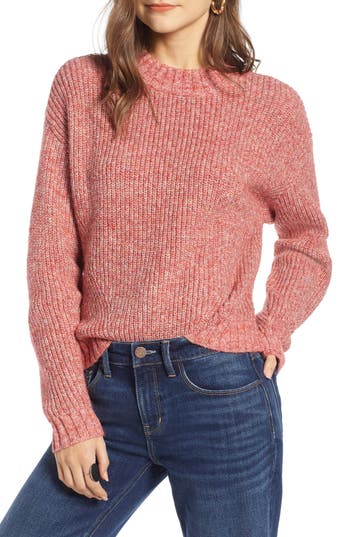 Treasure & Bond Space Dye Shaker Stitch Cotton Blend Sweater