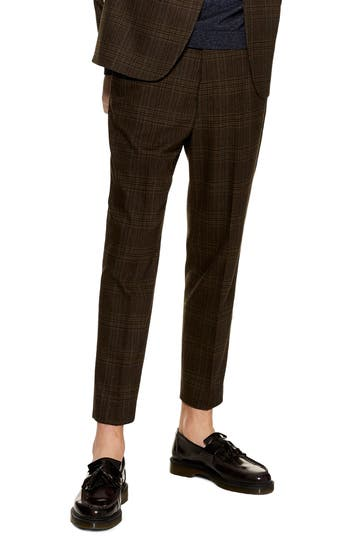 Topman Check Crop Trousers