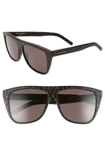 Saint Laurent 59mm Leather Wrapped Flat Top Sunglasses