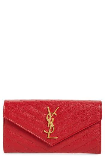 Saint Laurent Monogram Logo Leather Flap Wallet
