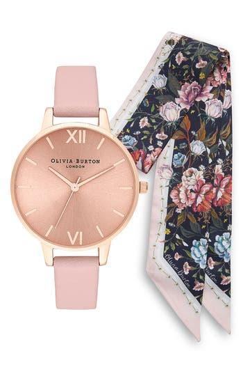 Olivia Burton Sunray Leather Strap Watch Set, 34mm