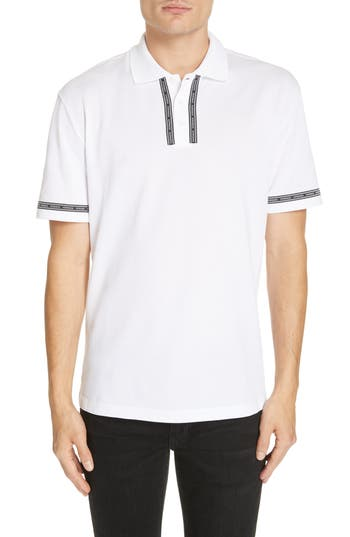 Versace Logo Trim Cotton Polo Shirt