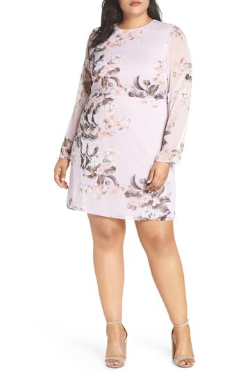Leith Long Sheer Sleeve Floral Dress