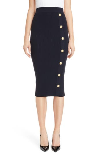 Balmain Button Detail Rib Knit Skirt