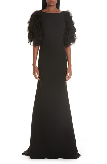 Badgley Mischka Collection Tiered Feather Evening Dress
