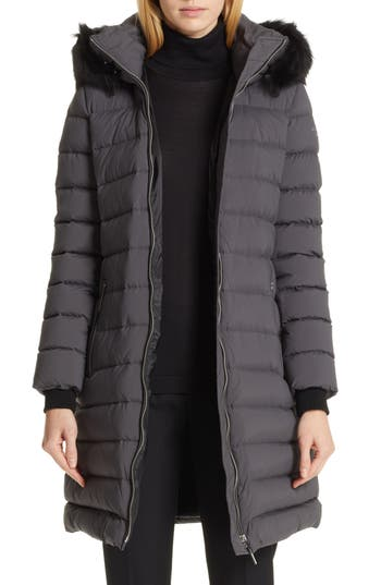 Burberry Limehouse Quilted Down Puffer Coat with Removable Genuine Shearling Trim