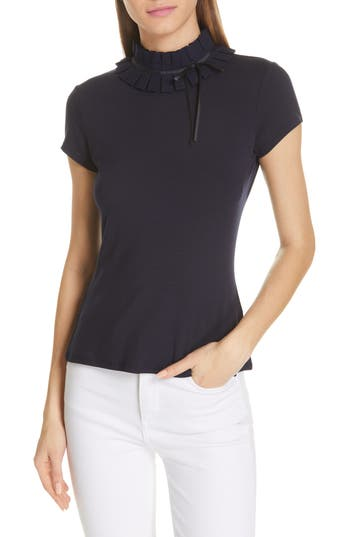 Ted Baker London Ruffle Neck Fitted Tee