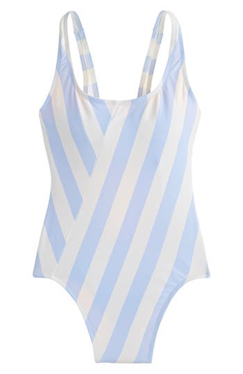 J.Crew 1989 Stripe Scoop Back One-Piece Swimsuit