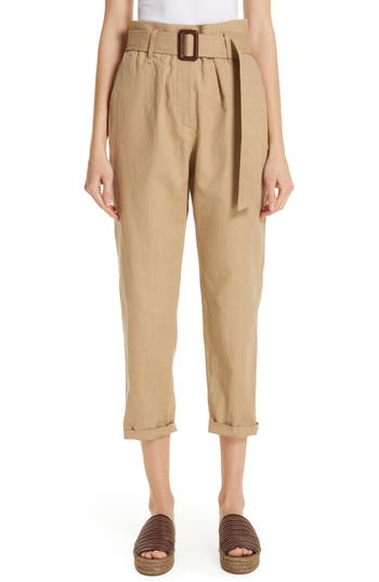 Brunello Cucinelli Paperbag Waist Linen & Cotton Pants