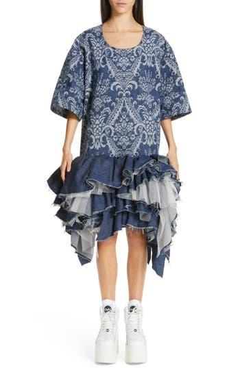 Junya Watanabe Denim Jacquard Tulle Dress