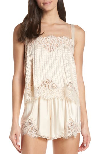 Palindrome Amaranth Pintuck Lace Trim Camisole