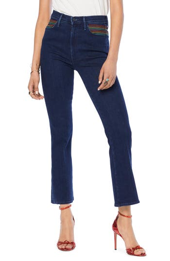 MOTHER The Smooth Hustler High Waist Crop Flare Jeans (Over the Rainbow)