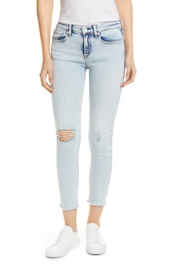 rag & bone Cate Ripped Raw Hem Ankle Skinny Jeans (Lima)