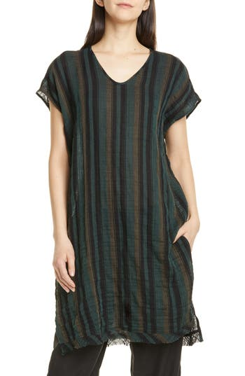 Eileen Fisher Stripe Raw Hem Organic Cotton Tunic (Regular & Petite)