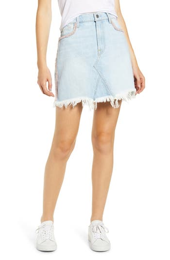 7 For All Mankind® Pink Fringe Detail Denim Miniskirt