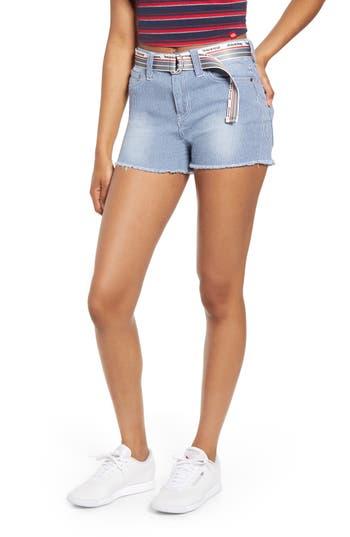 Dickies Hickory Stripe Fray Hem Belted Denim Shorts