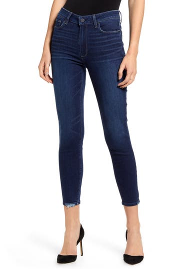 PAIGE Hoxton High Waist Crop Skinny Jeans (Hibiscus Distressed)