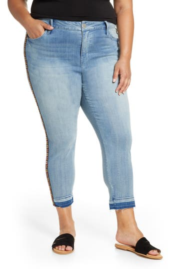 Seven7 Embroidered Side Stripe Release Hem Crop Skinny Jeans (Radiant) (Plus Size)