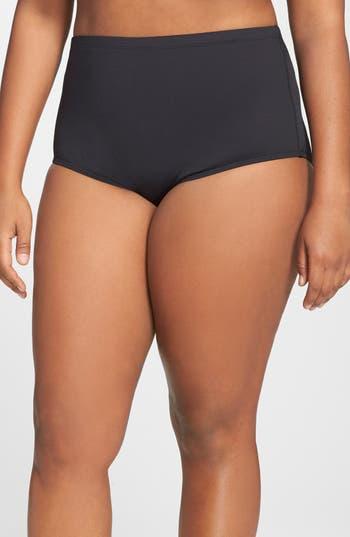 Plus Size La Blanca High Waist Bikini Bottoms, Black