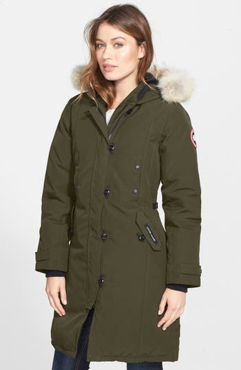 Canada Goose Kensington Slim Fit Down Parka With Genuine Coyote Fur Trim, Green