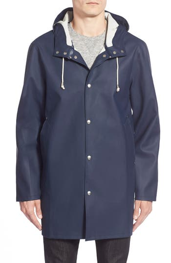 Men's Stutterheim Stockholm Waterproof Hooded Raincoat, Size X-Small - Blue