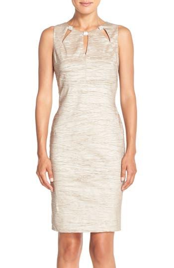 Eliza J Embellished Cutout Taffeta Sheath Dress, Beige