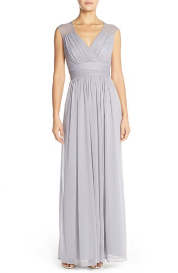 Alfred Sung Shirred Chiffon Cap Sleeve Gown, Metallic