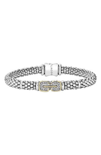 Women's Lagos 'Cushion' Diamond Caviar Bracelet