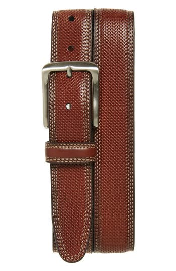 Johnston & Murphy Textured Leather Belt, Tan