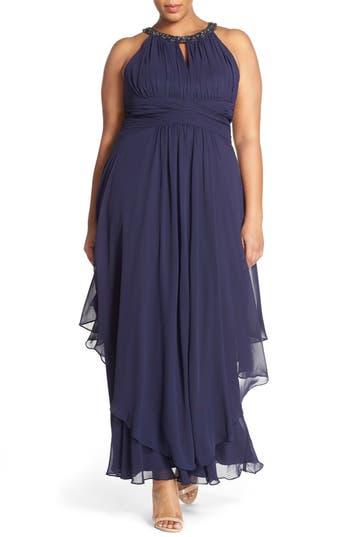 Plus Size Eliza J Embellished Keyhole Neck Chiffon Gown, Blue