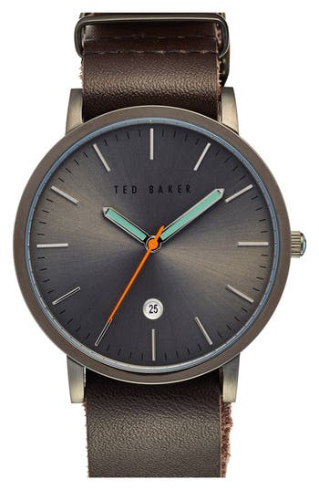 Men's Ted Baker London Leather Strap Watch, 40Mm