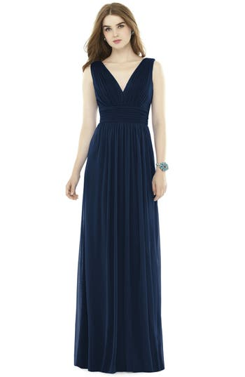 Alfred Sung V-Neck Pleat Chiffon Knit A-Line Gown, Blue