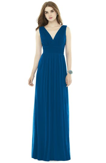 Alfred Sung V-Neck Pleat Chiffon Knit A-Line Gown