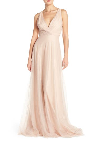 Monique Lhuillier Bridesmaids Back Cutout Pleat Tulle Gown, Beige
