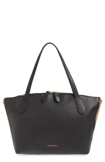 Burberry Welburn Check Leather Tote - Black