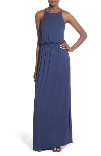 Lush High Neck Maxi Dress, Blue