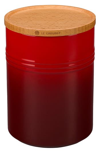 Le Creuset Glazed 22 Ounce Stoneware Storage Canister With Wooden Lid, Size One Size - Red