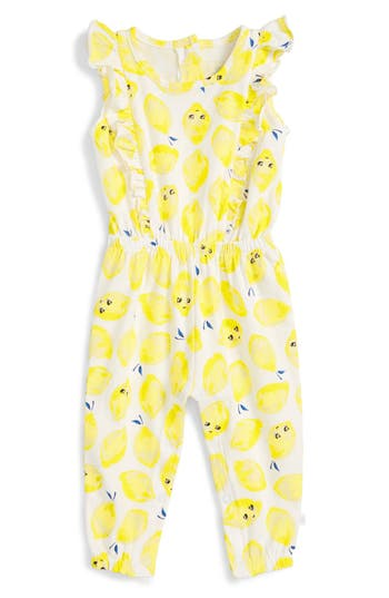 Infant Girl's Rosie Pope 'Lemon' Print Ruffle Romper
